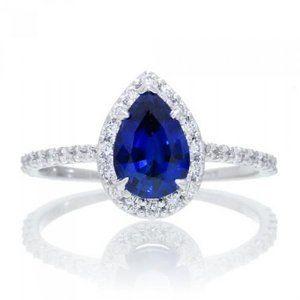 Jewelry - SRI LANKA BLUE SAPPHIRE diamond 3 Carats pear cut